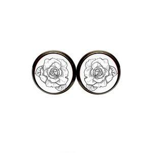 Black & White Rose Earrings